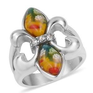 Jewelry - Murano Millefiori Glass, White Austrian Crystal St